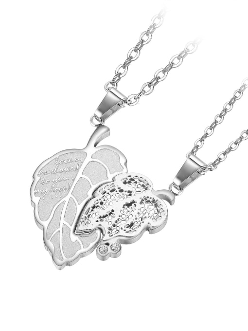 1934 [steel color single pendant] Titanium Steel Cubic Zirconia Tree Leaf Hop Necklace